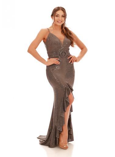 Carmen Bakır Volan Yırtmaçlı Uzun Balık Abiye Elbise Bronz
